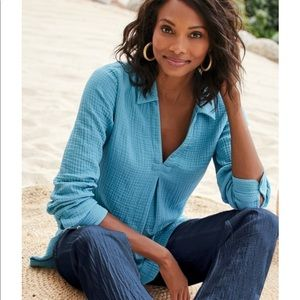 Soft Surroundings Key Biscayne Gauze Tunic